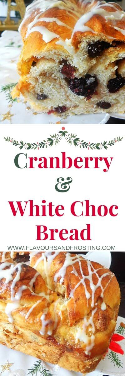 Cranberry White Chocolate Bread. Easy to make and perfect for Christmas!