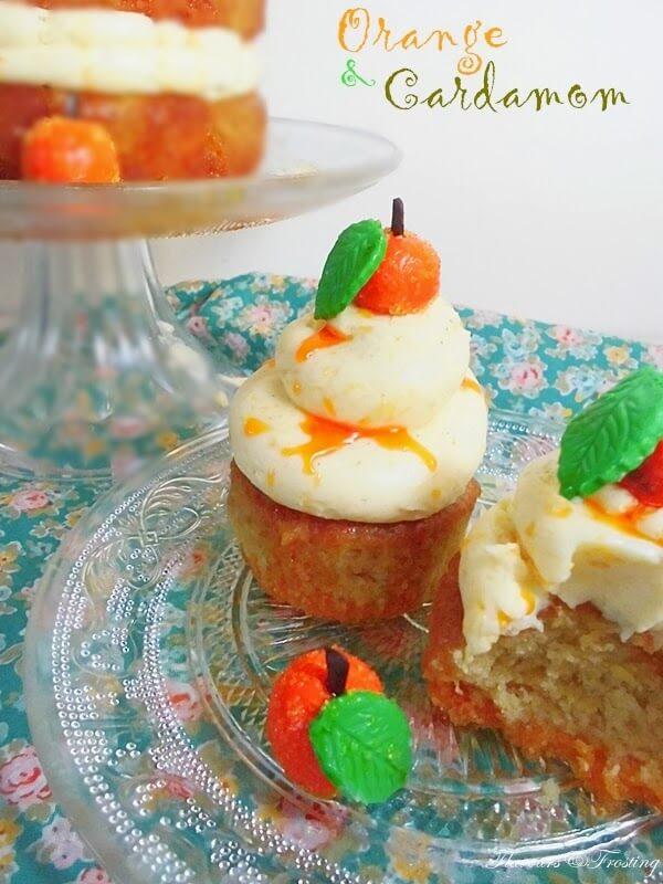orange cardamom cake, naked layer cake, mascarpone frosting, orange cupcakes