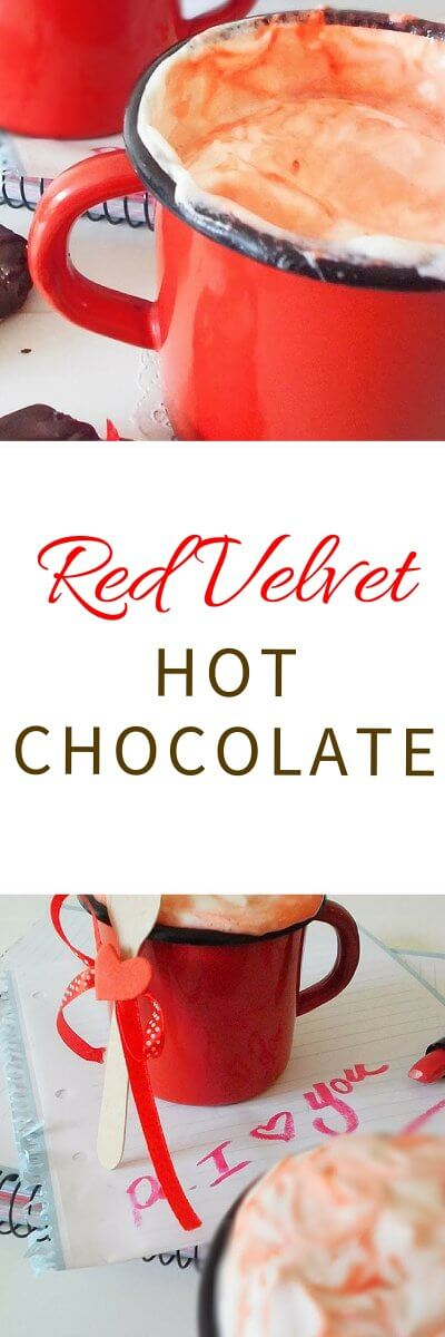 Red velvet hot chocolate recipe from FlavoursandFrosting.com