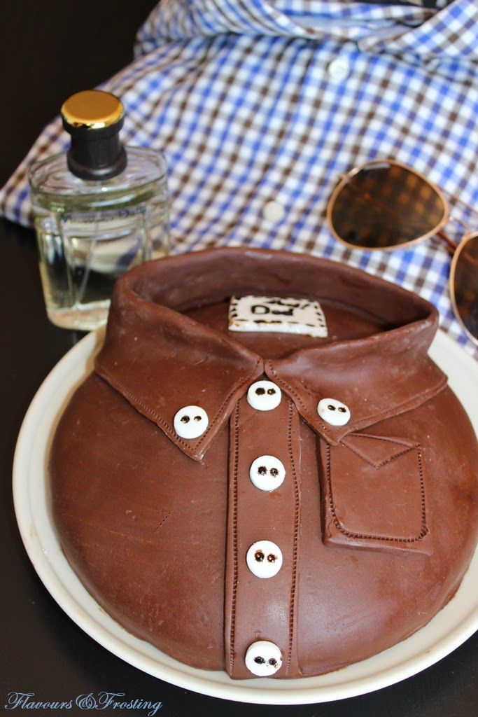 Chocolate Shirt Cake made with homemade modeling chocolate | FlavoursandFrosting.com