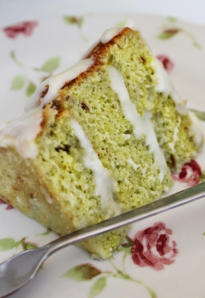 Pistachio White Chocolate Cake. The saltiness of the pistachios combines with the sweet richness of the white chocolate makes this cake taste heavenly!