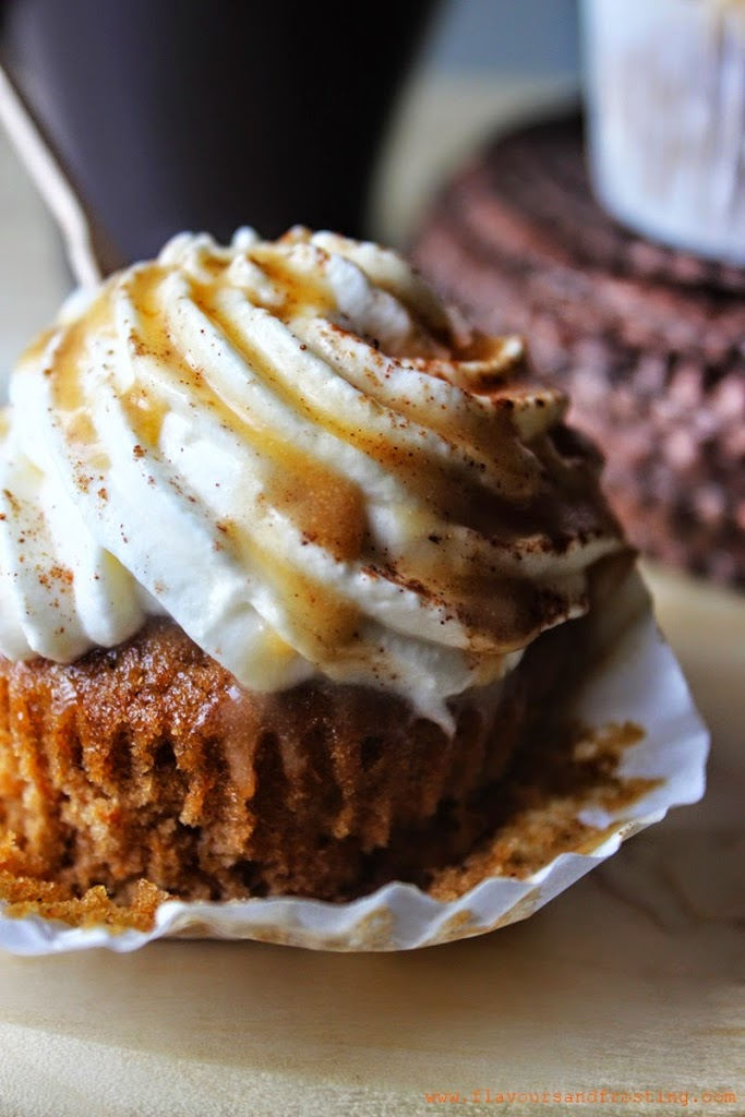 Pumpkin Spice Latte Cupcakes with pecan praline sauce!