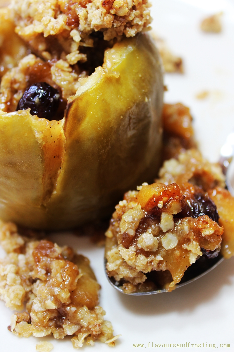 Baked Stuffed Apple Crisp (flavored with cranberries, orange and spices)