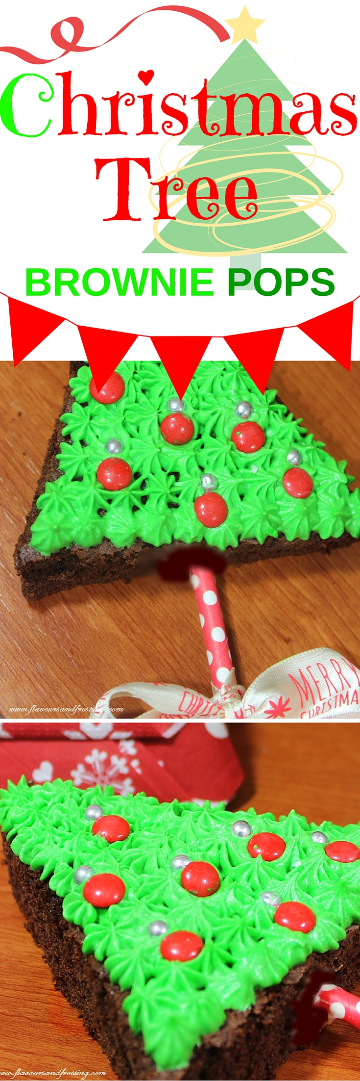 Christmas Tree Brownie Pops made with chocolate brownie and green colored buttercream. Topped with red m&m´s and silver edible balls! How cute!
