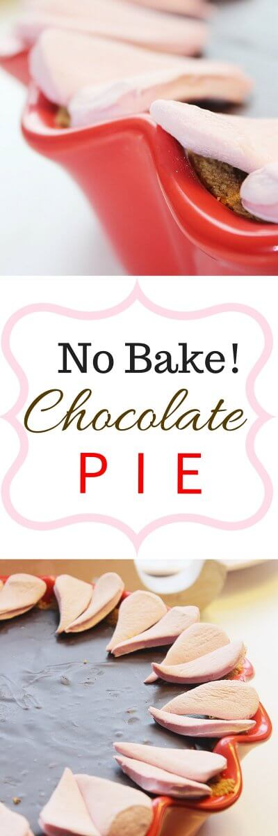 No Bake Chocolate Pie for Valentines Day or any other occasion!  Recipe from FlavoursandFrosting.com