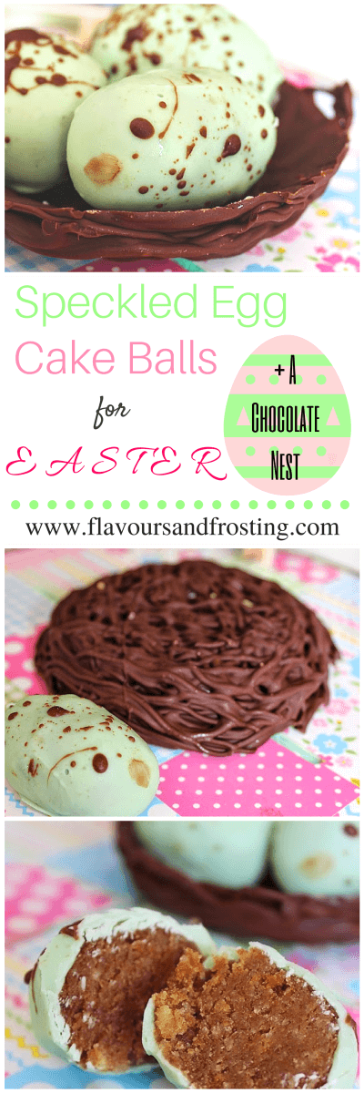 Easter Egg Cake Balls (speckled birds eggs) on top of a Chocolate Nest | FlavoursandFrosting.com