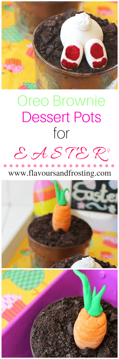 Oreo Brownie Dessert Pots for Easter with Fondant Bunnies and Carrots | FlavoursandFrosting.com
