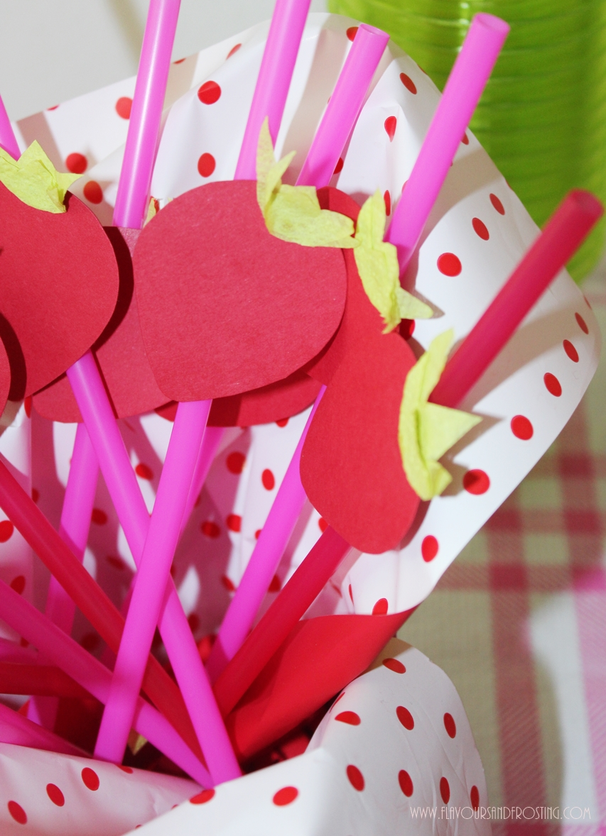 Strawberry Themed Party Straws for Decorations