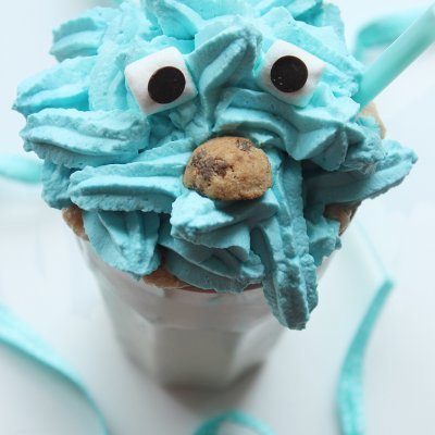 Cookie Monster Milkshake with Chocolate Chip Cookie Dough
