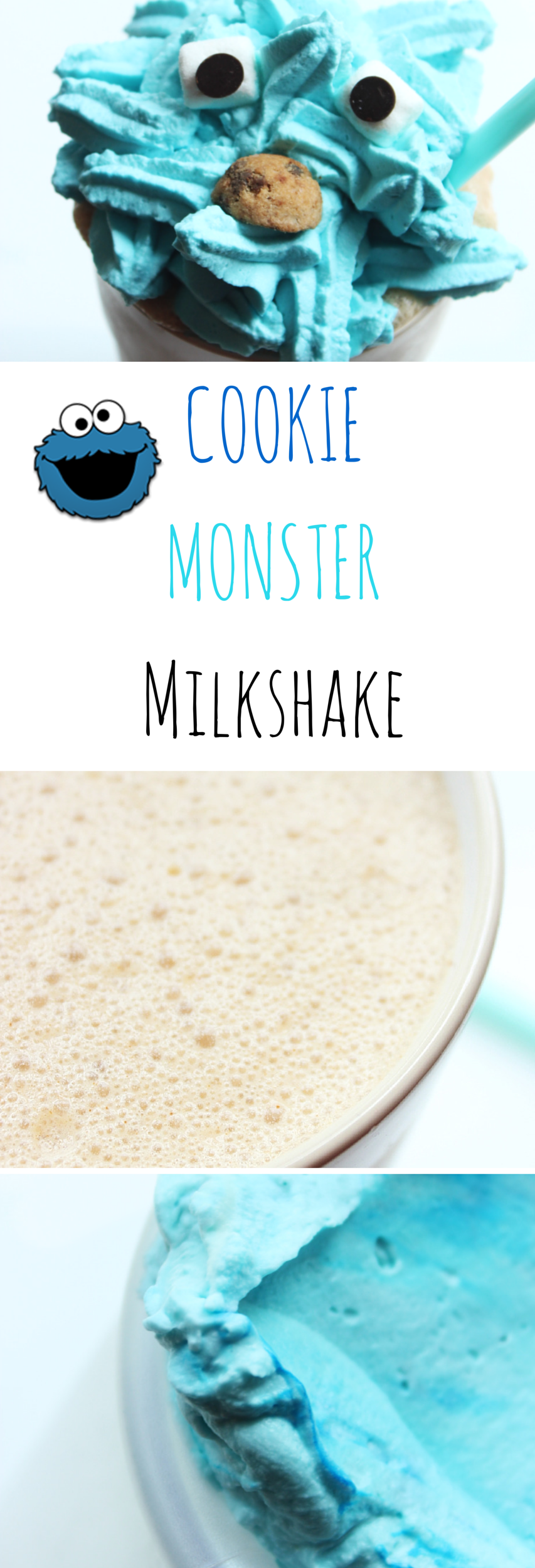 Cookie Monster Milkshake with homemade Eggless Chocolate Chip Cookie Dough