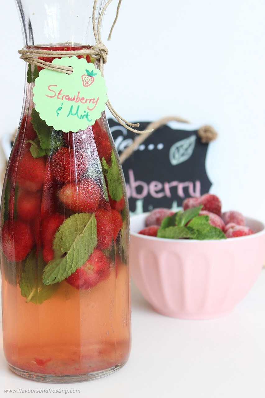 strawberry mint infused water or you could call it Strawberry Mint Flavored Water