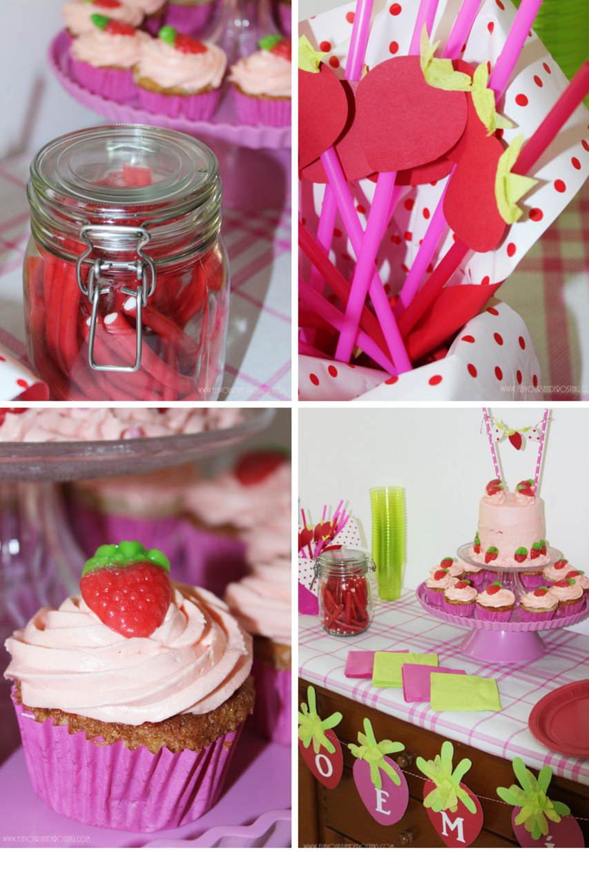 Strawberry themed party with decorations and strawberry sponge cake - Strawberry themed kitchen decor ...