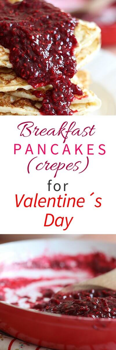 South African Raspberry Pancakes (crepes) for Breakfast. Perfect for Valentine´s day! Recipe from FlavoursandFrosting.com