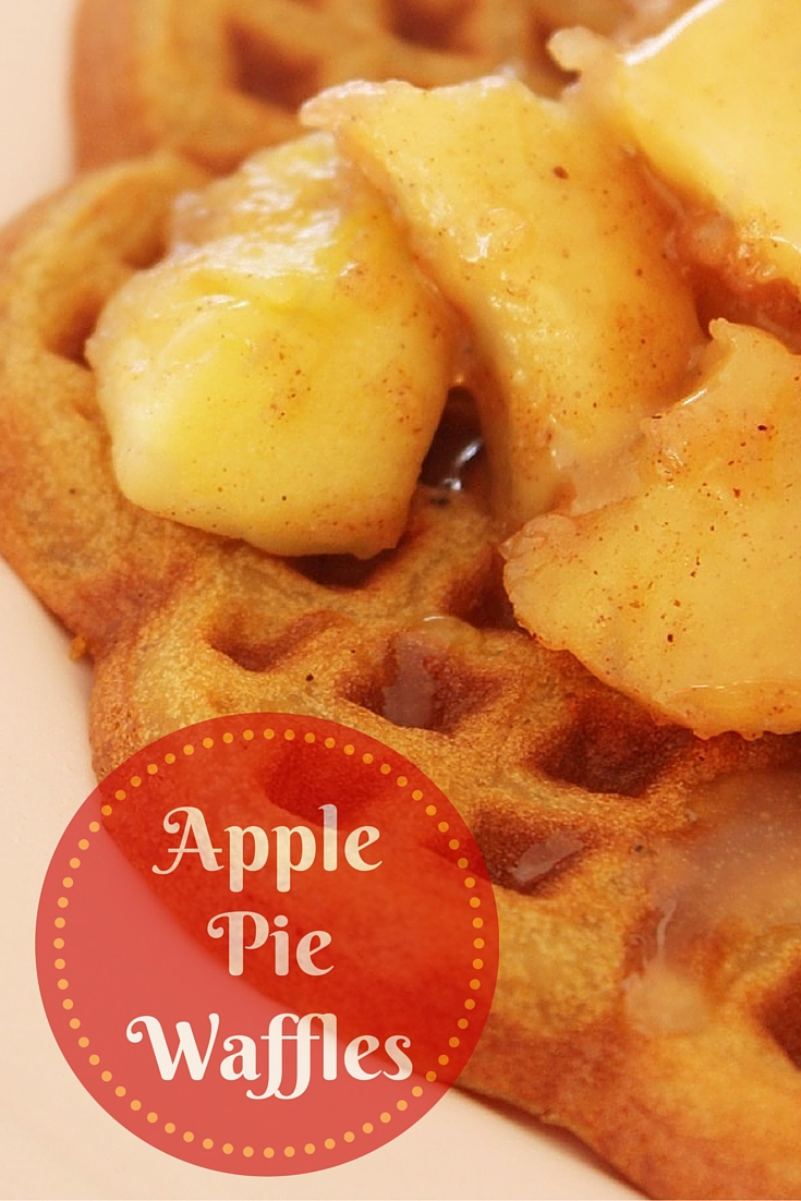 Apple Pie Waffles with fresh whipping cream and salted caramel sauce