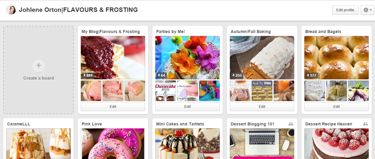 Pinterest page for www.FlavoursandFrosting.com