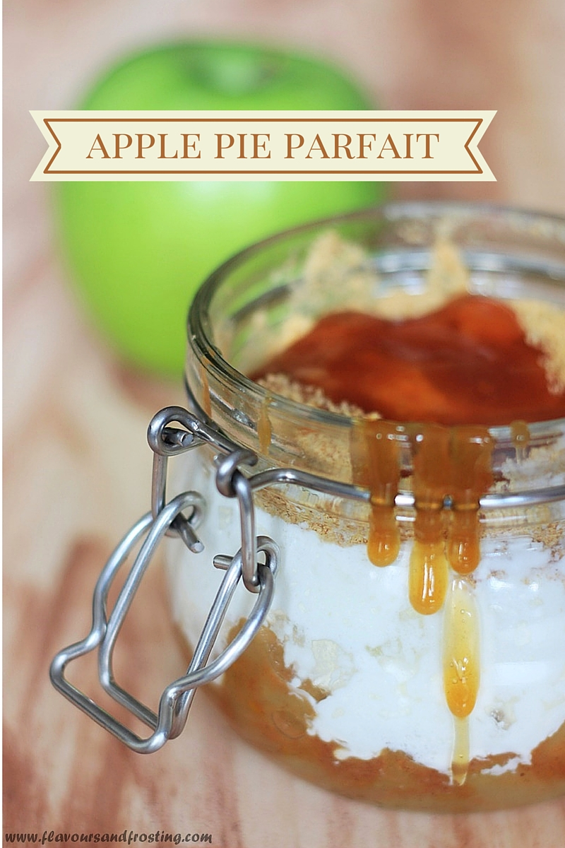 easy apple pie parfait recipe made with apple pie filling and salted caramel