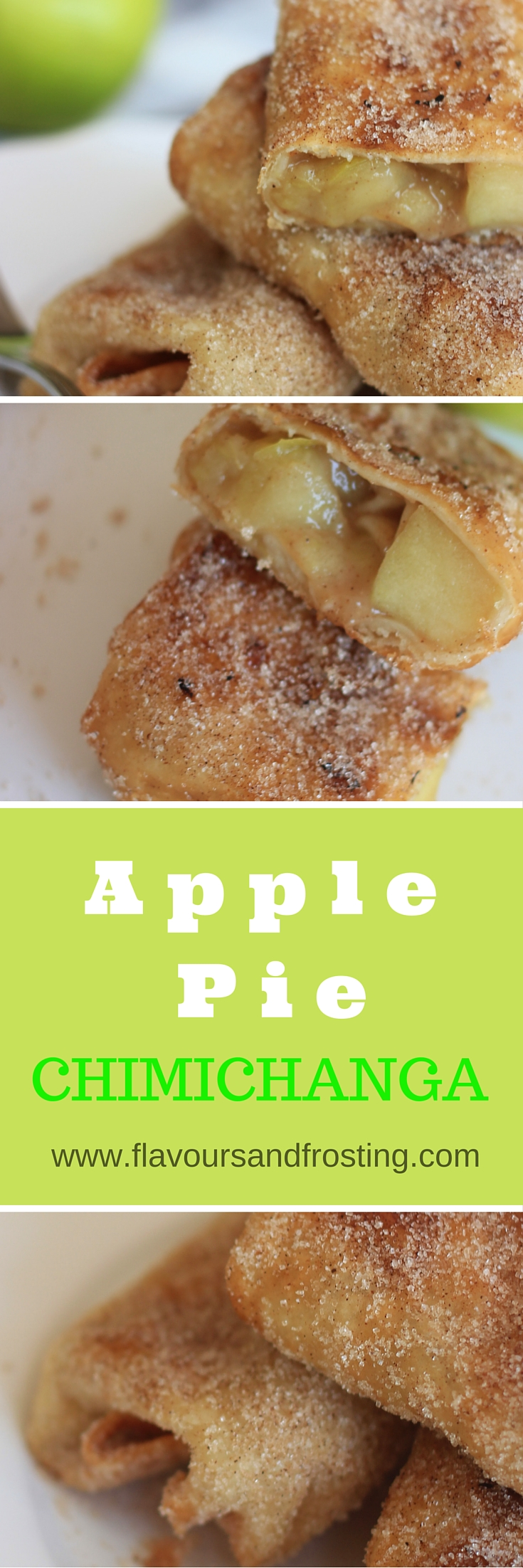 Delicious Apple Pie Chimichanga Recipe made with Mexican flour tortillas filled with apple pie filling, deep fried and rolled into a cinnamon sugar mix.