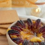 Easy Sweet Potato Pie Dip topped with toasted pecans. A great SUBSTITUTION for a SWEET POTATO PECAN PIE but so much easier and faster to make!e! You will be the talk of the town (or family) on Thanksgiving Day!