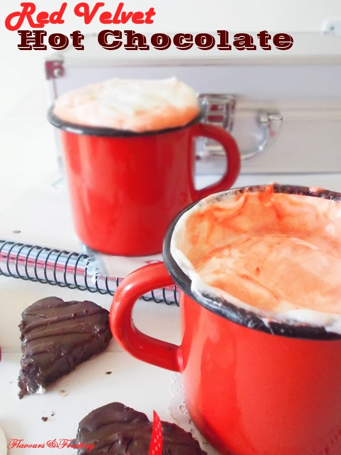 Red Velvet Hot Chocolate Recipe made with actual red velvet cake!