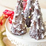 Black Forest Cheesecake Christmas Trees made with ice cream cones, melted chocolate, cream cheese, black cherry preserve and whipping cream | Flavours and Frosting | www.flavoursandfrosting.com
