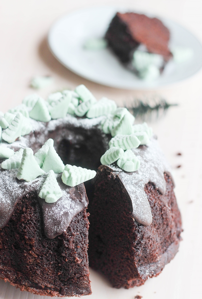 Chocolate Bundt Cake Peppermint Glaze
