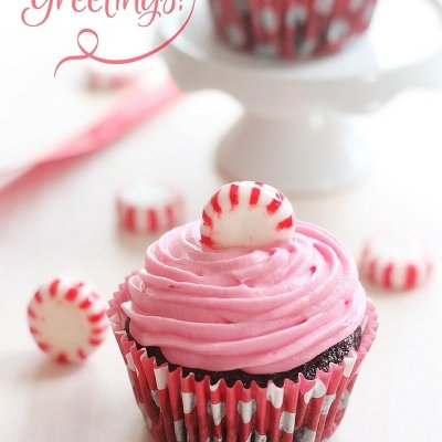 Pink Peppermint CandyChocolate Cupcakes