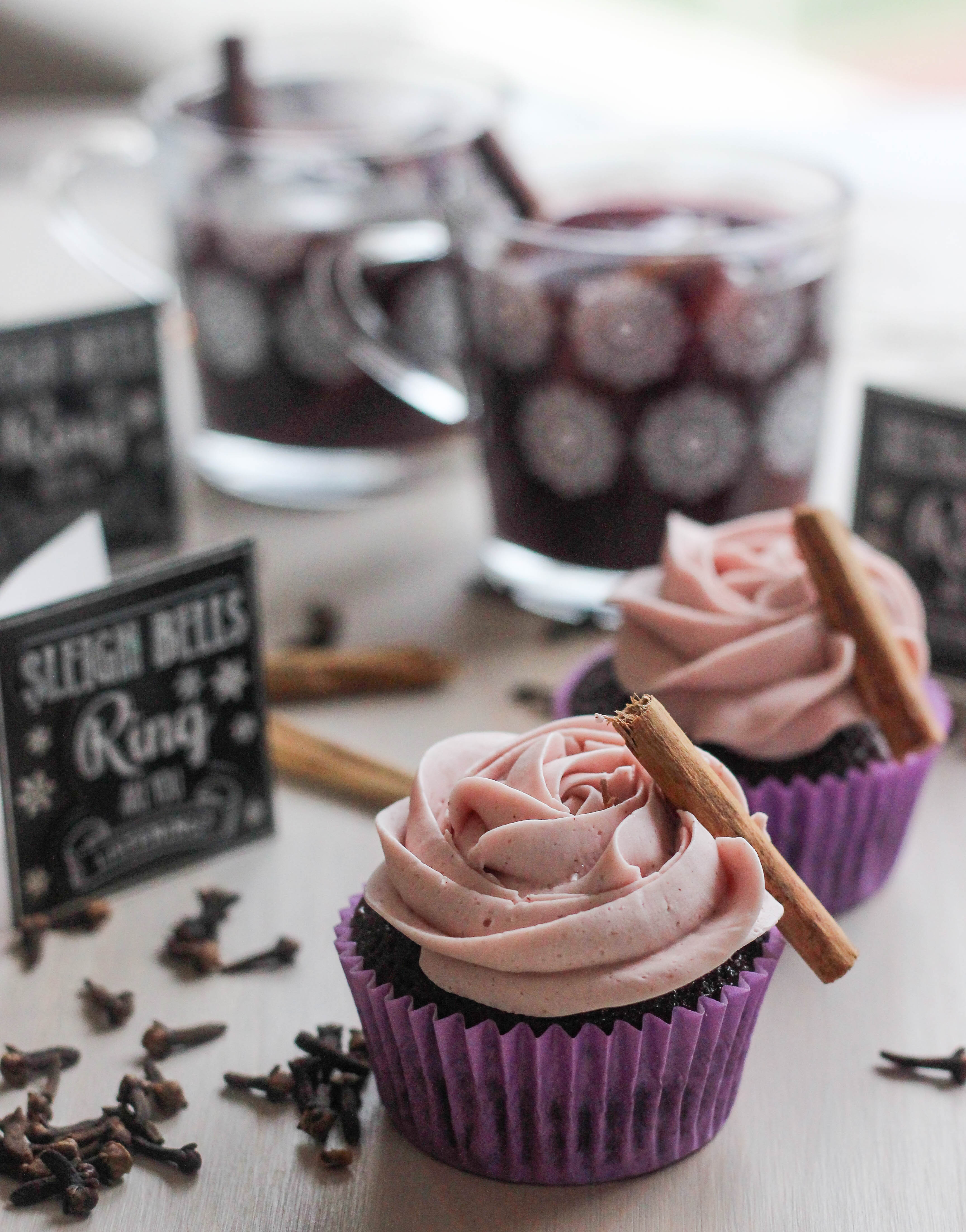 Chocolate Buttermilk Cupcakes with Gluehwein Frosting