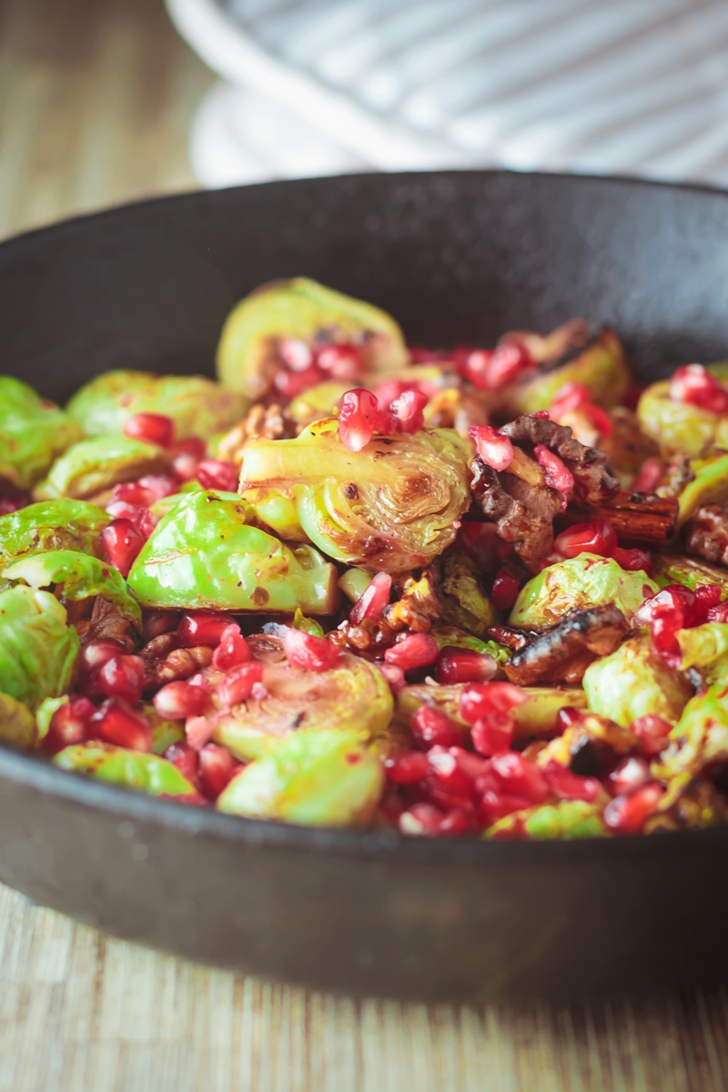 Roast Sprouts with Pomegranite Molasses - 10 Fantastic Food bloggers worked together to create the PROJECT CHRISTMAS COOKBOOK with 20 easy, impressive Holiday recipes, from drinks to side dishes to desserts, And we´re selling it for only $8!!! AND AND 100% OF THE PROCEEDS WILL BE DONATED TO THE NO KID HUNGRY CAMPAIGN!