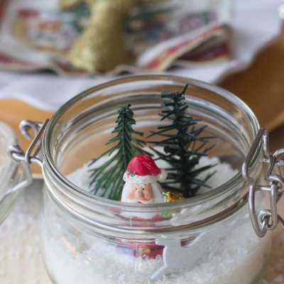 Table Ornaments for Christmas made with glass jars
