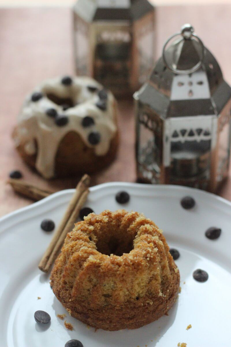 Mini Pumpkin Bundt Cakes with Chocolate Chips