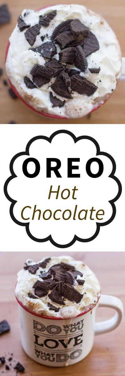 This Oreo Hot Chocolate Recipe is super easy and a great idea for those chilly nights in | flavoursandfrosting.com