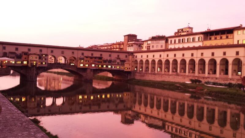 Things to see in Florence Italy. Walking next to the Arno River.