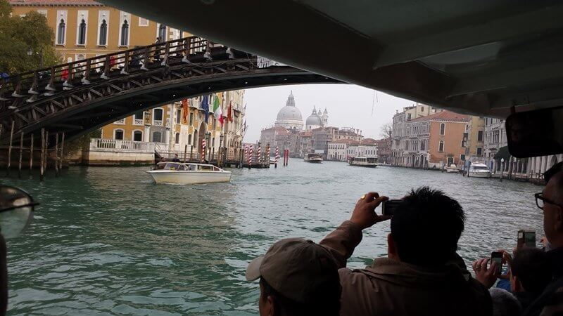 Tourist attractions in Venice, a ride in the vaporetto (water taxi).
