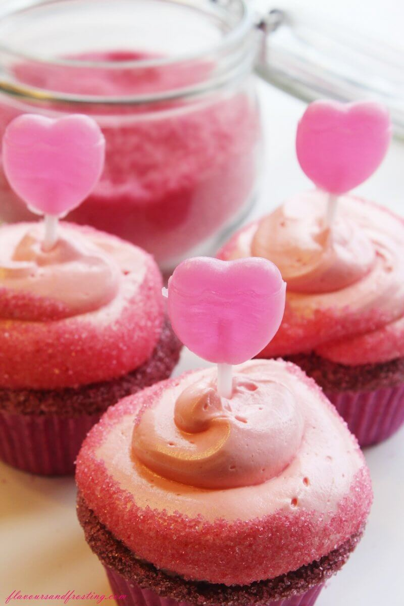 Valentines Day Cupcakes frosted with the most delicious french meringue buttercream! Heaven!