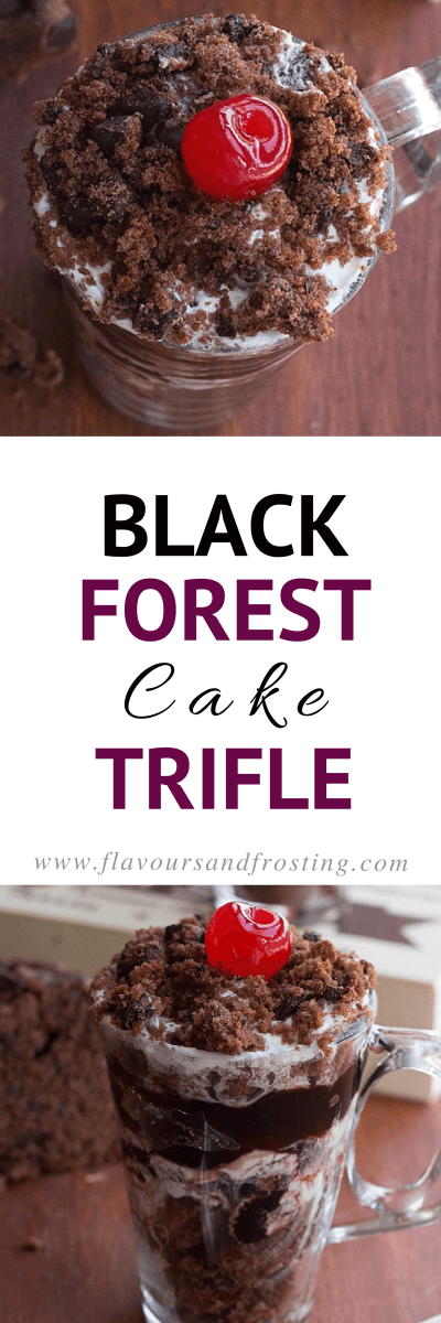 Black Forest Cake Trifle made in a glass. It tastes the same as the real deal, but it´s so much faster to make! If you love Black Forest Cake, you´ll love this Recipe! | Recipe by FlavoursandFrosting.com