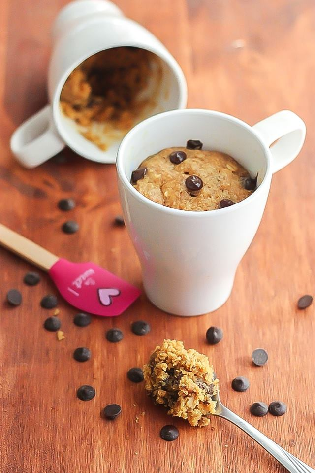 5-Minute Gluten Free Peanut Butter Chocolate Chip Mug Cake made in the Microwave!