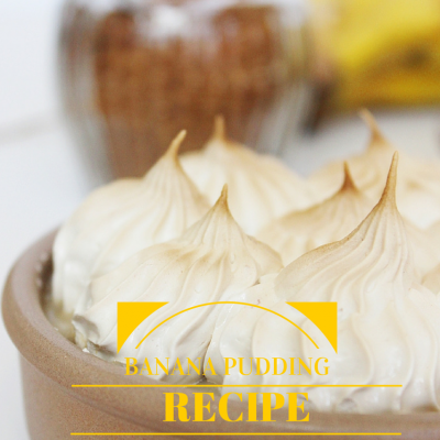 Microwave Banana Pudding topped with Brown Sugar Italian Meringue