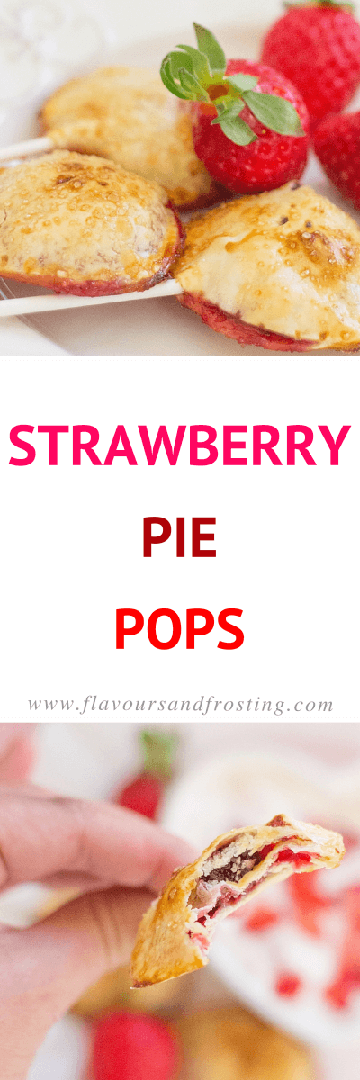 Valentine´s Day Strawberry Pie Pops Recipe made with just a few ingredients!| FlavoursandFrosting.com