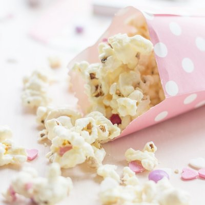 Valentines Popcorn made with white chocolate & candy + Reader Survey