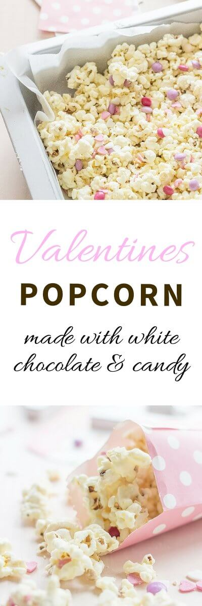 A super easy Valentines Day Gift! Valentines Popcorn made with salted popcorn, melted white chocolate, mini Smarties (M&M´s will do just fine too!) and edible heart confetti | FlavoursandFrosting.com