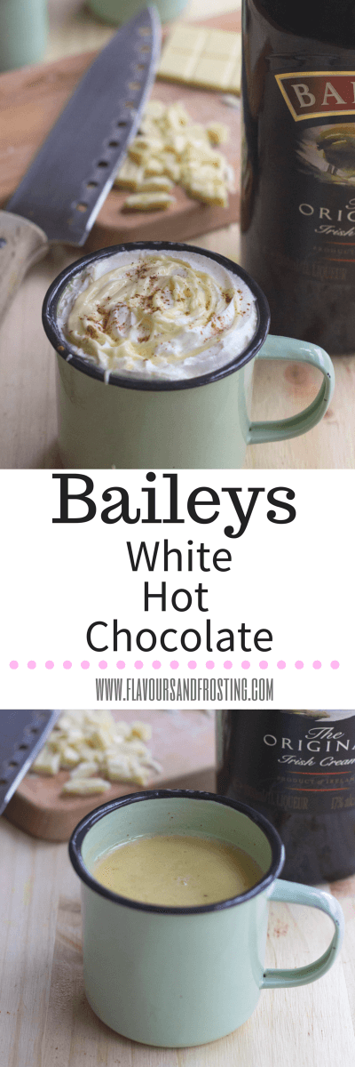 Baileys White Hot Chocolate Recipe for St. Patrick´s Day, made in just 5 minutes! Yes just 5!