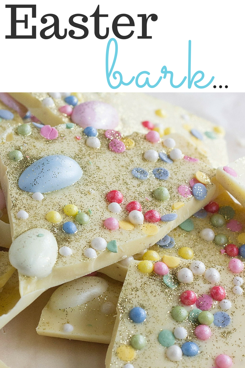 An easy Easter Bark recipe made with white chocolate, mini Easter eggs and edible balls! FlavoursandFrosting.com