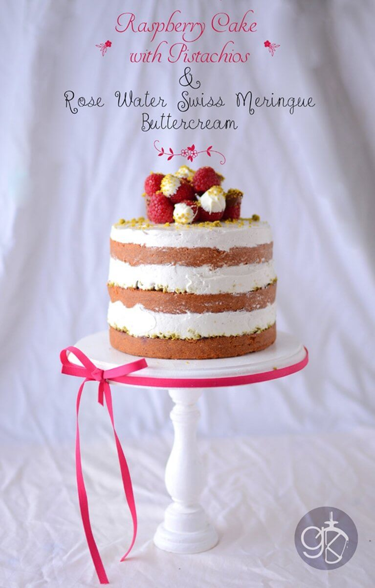 Naked Raspberry Cake with Pistachio and Rose Water | Layer Cakes for Easter round-up on FlavoursandFrosting.com