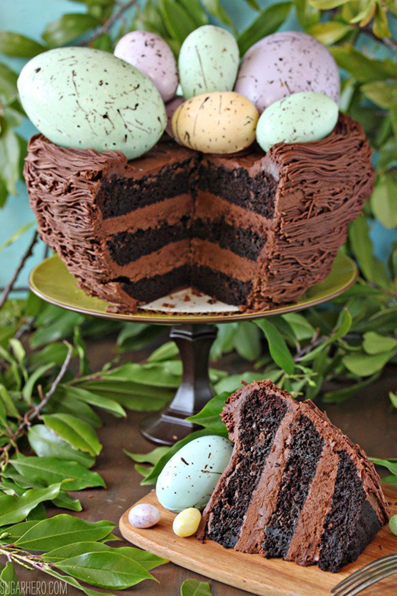 Easter Nest Cake| Layer Cakes for Easter round-up on FlavoursandFrosting.com