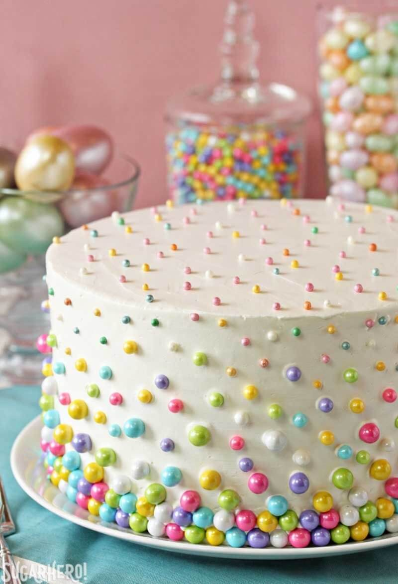 Easter Polka Dot Cake | Layer Cakes for Easter round-up on FlavoursandFrosting.com