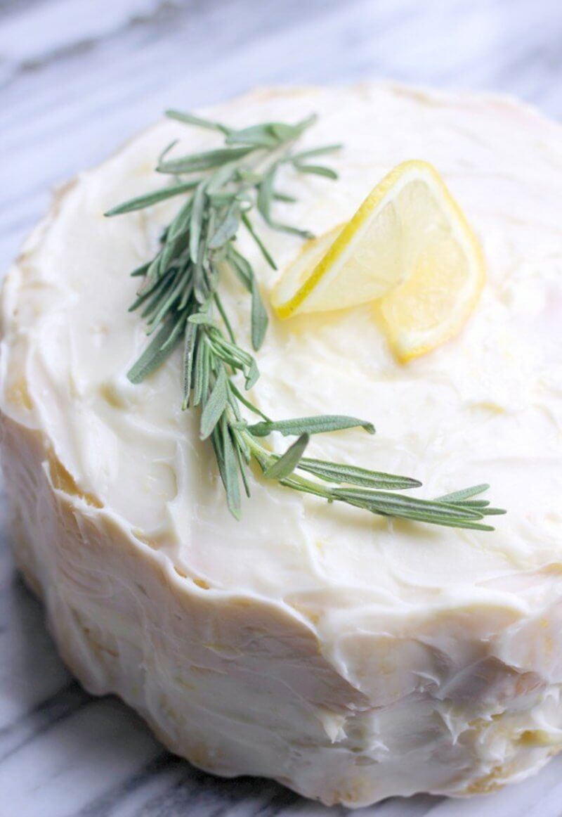 Lemon Rosemary Cream Cheese Cake| Layer Cakes for Easter round-up on FlavoursandFrosting.com