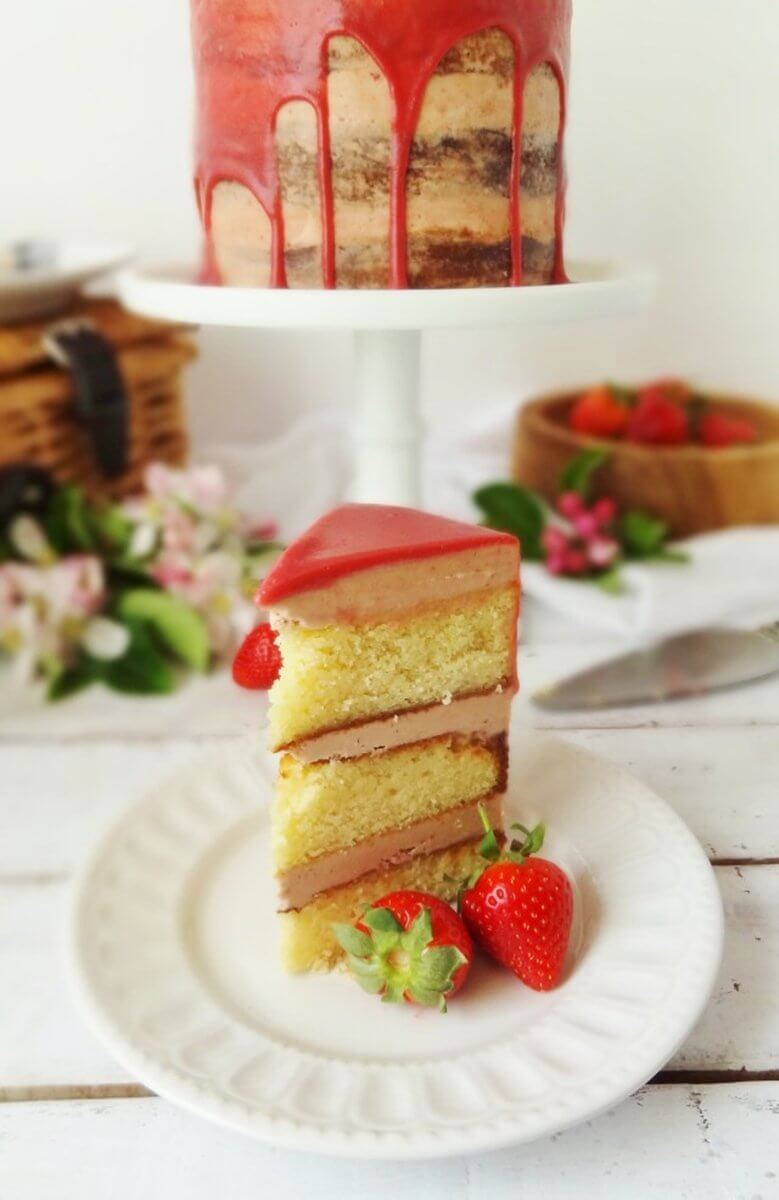 Roasted Strawberry Elderflower-and-Almond Layer Cake | Layer Cakes for Easter round-up on FlavoursandFrosting.com