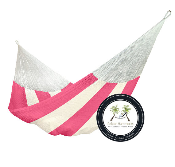 pink and white striped hammock etsy