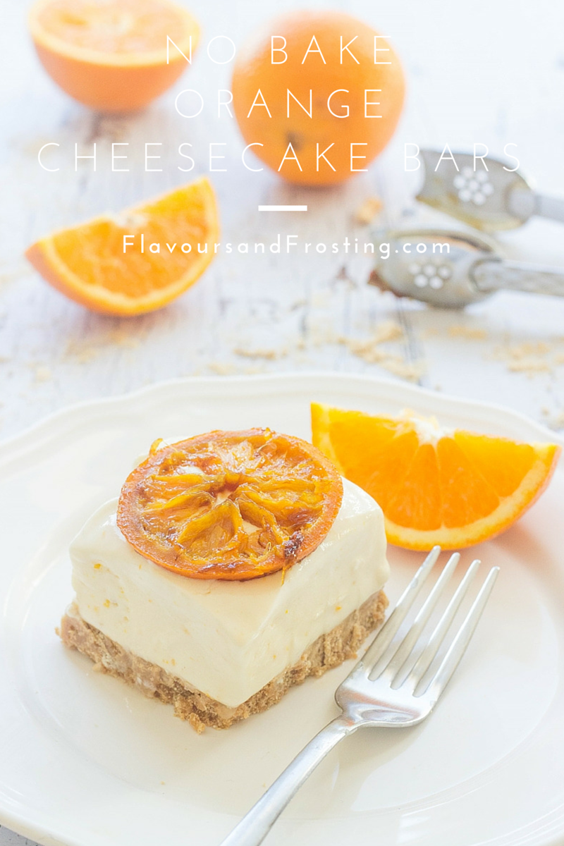 No Bake Orange Cheesecake Bars recipe topped with caramelized oranges... Recipe by FlavoursandFrosting.com