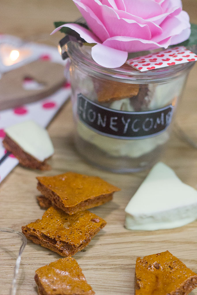 Easy Valentine Treats! A Honeycomb recipe made to taste like my favourite childhood candy bar: Crunchies Chocolate Bar...